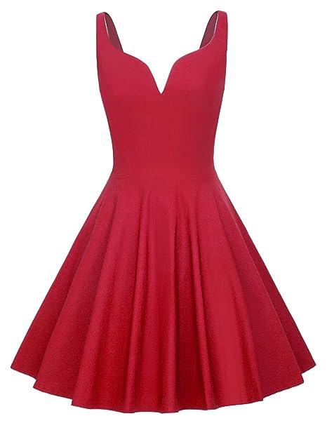 GRACE KARIN Mujer Vestido Vintage Cuello V para Cóctel Fiesta Rojo S CLAF0060-2