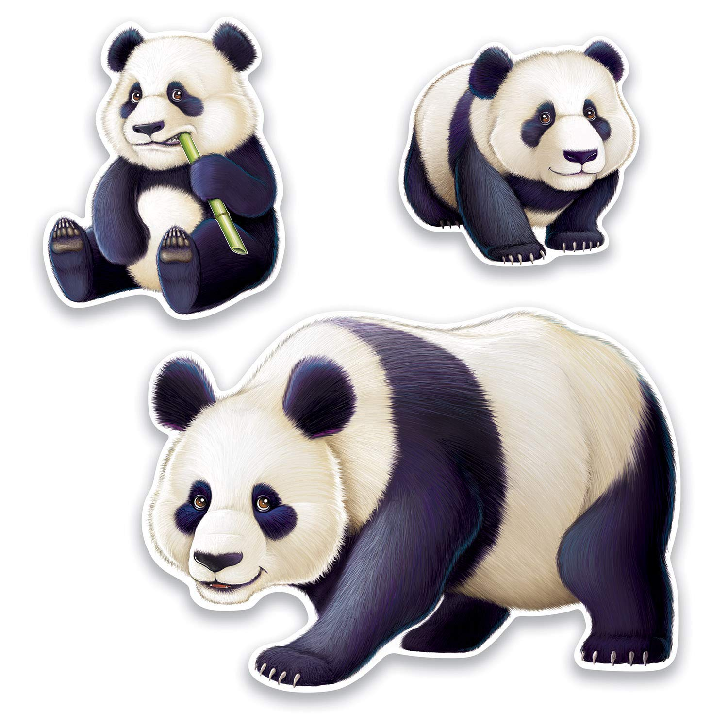 Beistle Asian Party Decoration Panda, Assorted Panda Cutouts 11.25 Inch to 25.25 Inch, Pack of 36