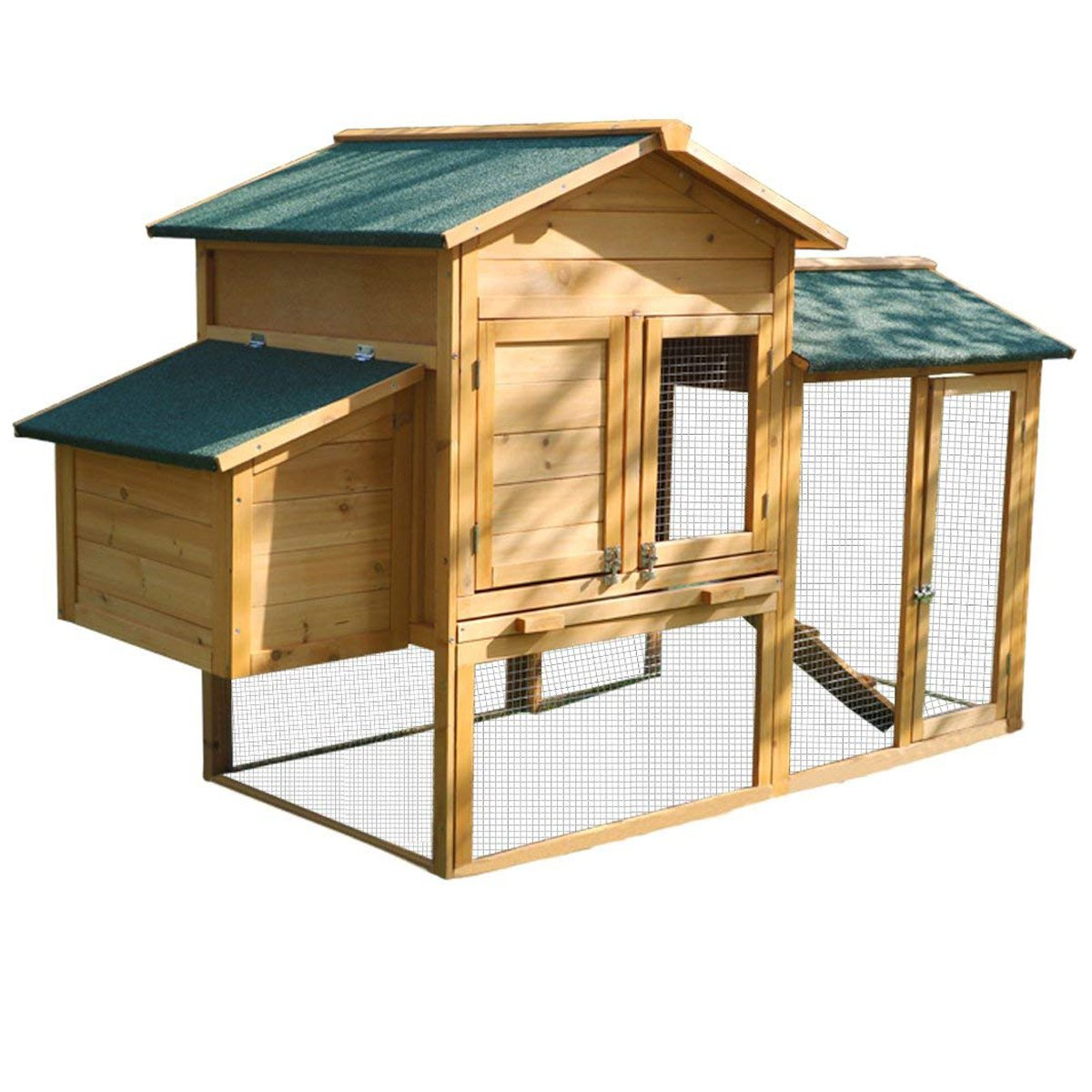 Yardeen Wooden Chicken Coop Bunny Rabbit Hutch Hen Quail Pet Cage for Winter and Windy Backyard Outdoor with Nesting Box and Run Cage