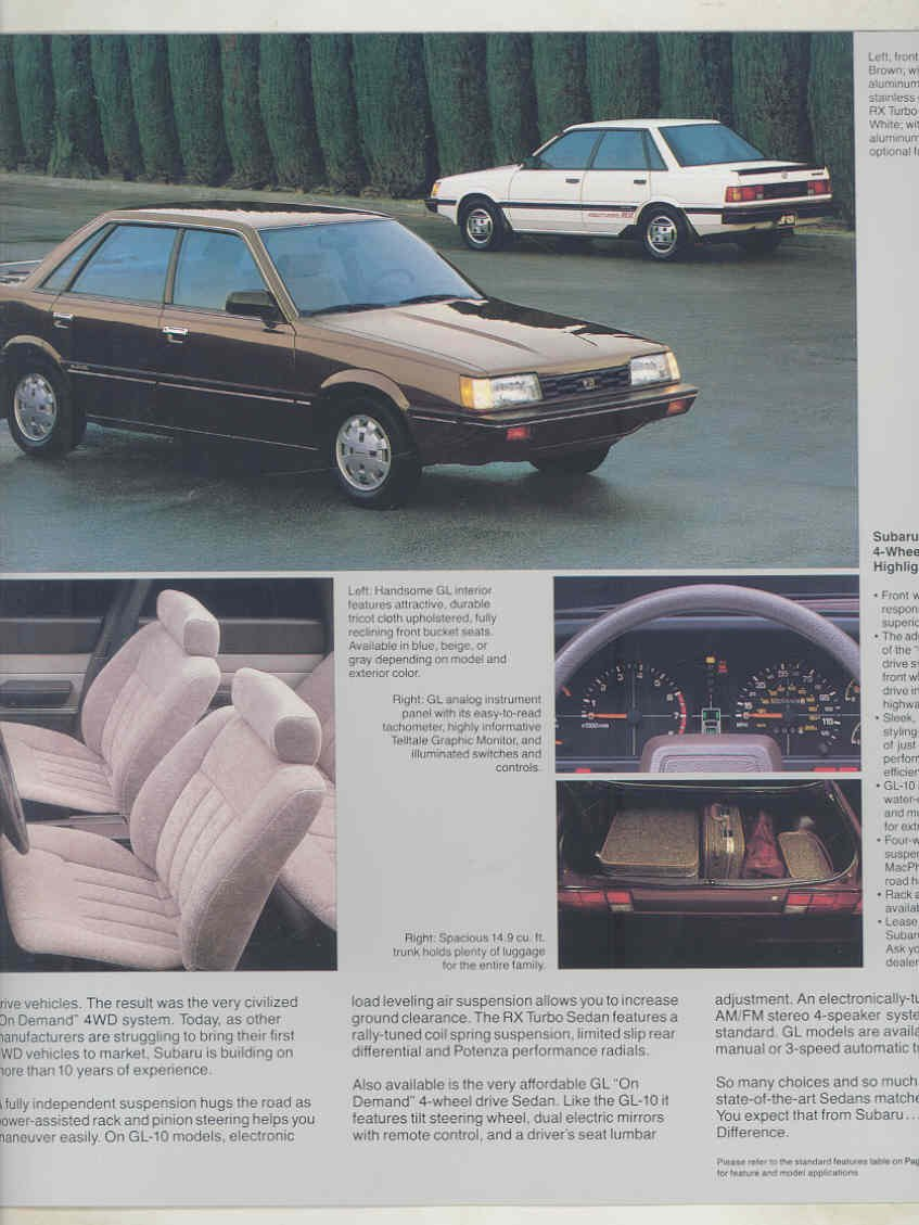 Amazon.com: 1986 Subaru XT Coupe Turbo FWD 4WD Wagon Sedan Hatchback Large Brochure: Entertainment Collectibles