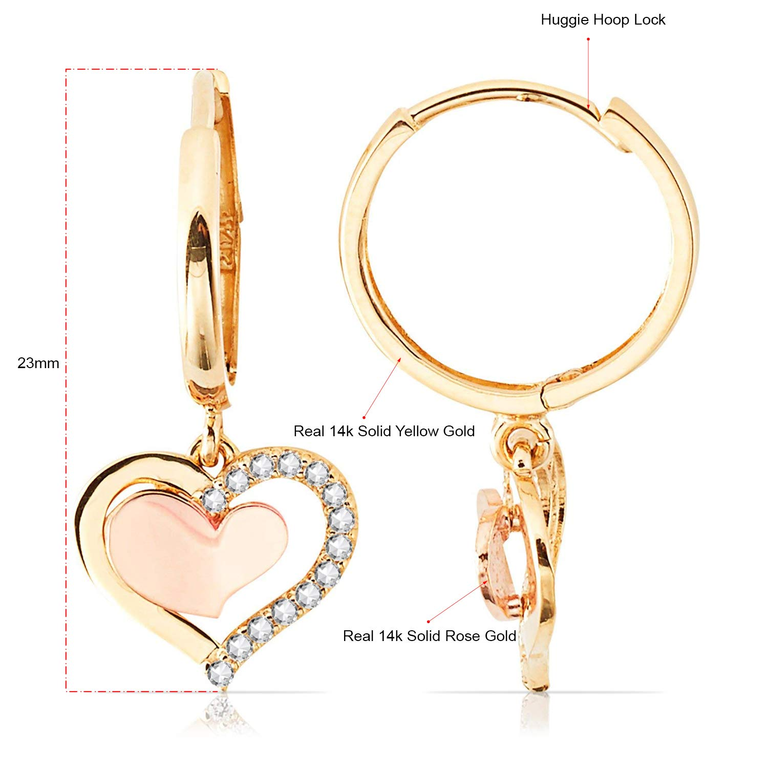 831107418 Amazon.com: 14K Rose and Yellow Gold Heart Dangling Earrings With CZ for  Women and Girls: Jewelry