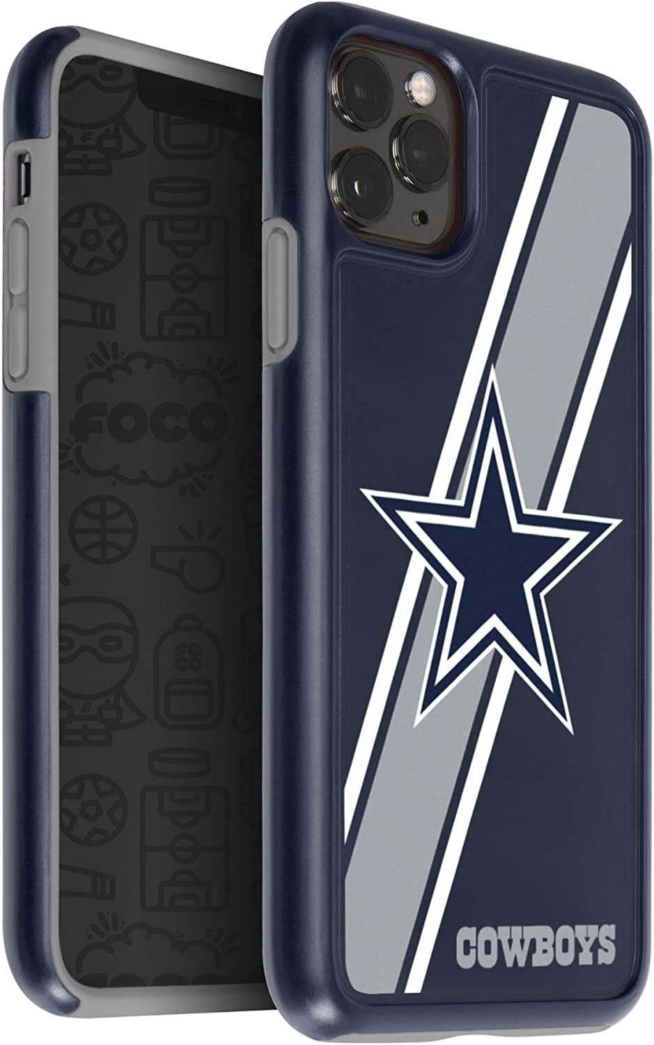 FOCO NFL Dallas Cowboys Unisex iPhone 11 Pro 5.8 Inch Screen Only Dual Hybrid Impact Licensed Case One Size Team Color