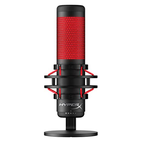 HyperX QuadCast - USB Condenser Gaming Microphone, for PC, PS4 and Mac,  Anti-Vibration Shock Mount, Four Polar Patterns, Pop Filter, Gain Control,