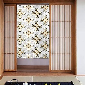Nonebrand Cortina de puerta abstracta de pavo real sin costuras, con patrón de Feng Shui, para cocina, bistró, cortina de sombreado para ventana, decoración del hogar, 34