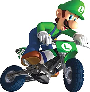 Pqzqmq Luigi Bike Cycle Motorcycle Super Mario Kart Wii Bros Brothers Removable Wall Decal Sticker Art Nintendo 64 SNES Home Kids Room Decor Decoration