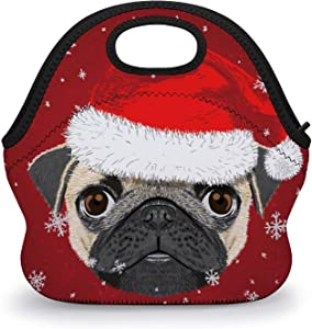 HEVANE Lunch Tote Bags, Merry Christmas Snowflake Puppy Pug Dog Reusable Insulated Tote Handbag Lunch Box Food Container, Durable Multi-function Waterproof Lunch Bag for Women Men Boys Girls