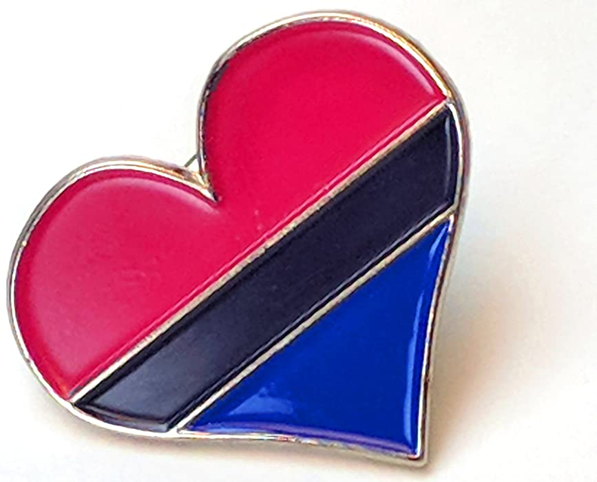 : Heart Pin Bisexual Pride Flag Midnight Colors