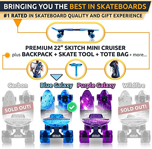 SKITCH Complete Skateboard Gift Set for All Ages with 22 Inch Mini Cruiser Board Skateboard Backpack Skate Tool Tote Bag