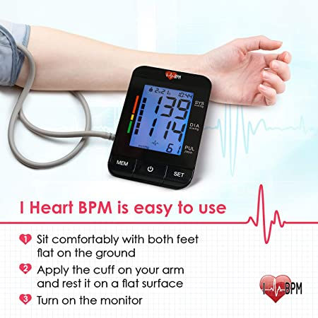 Amazon.com: iHeartBPM Blood Pressure Monitor – Automatic BP Monitor with Blood Pressure Cuff & Heart Rate Monitor for Ages 12 and Up – Accurate Digital ...