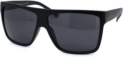 Men Large Black Flat Top POLARIZED Oversized Rectangular Shade Sunglasses Black
