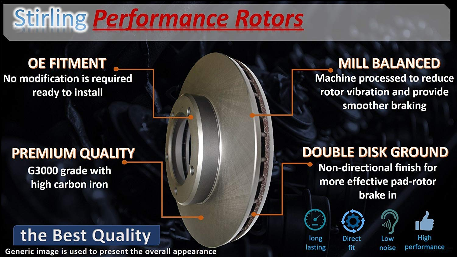 One Year Warranty 2018 for Honda Civic Rear Premium Quality Disc Brake Rotors And Ceramic Brake Pads For Both Left and Right