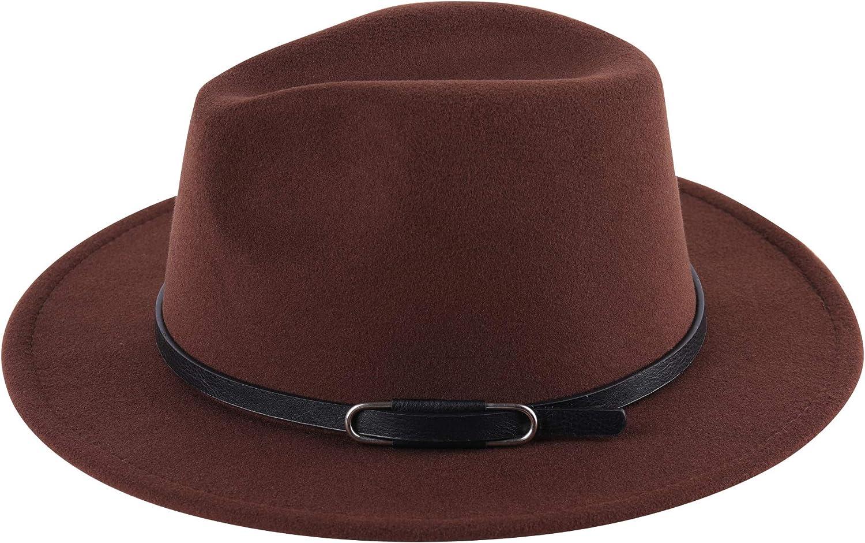 Lanzom Women Classic Wide Brim Wool Fedora Hat with Belt Buckle Felt Panama Hat