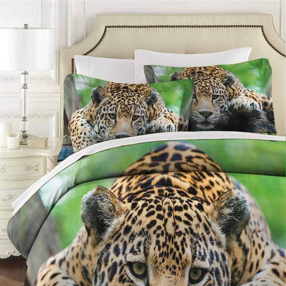 Jungle Bedding 3-Piece Twin Bed Sheets Set,Comforter Bedding Set Microfiber Duvet Cover Set South American Jaguar Wild Animal for Any Bed Room Or Guest Room
