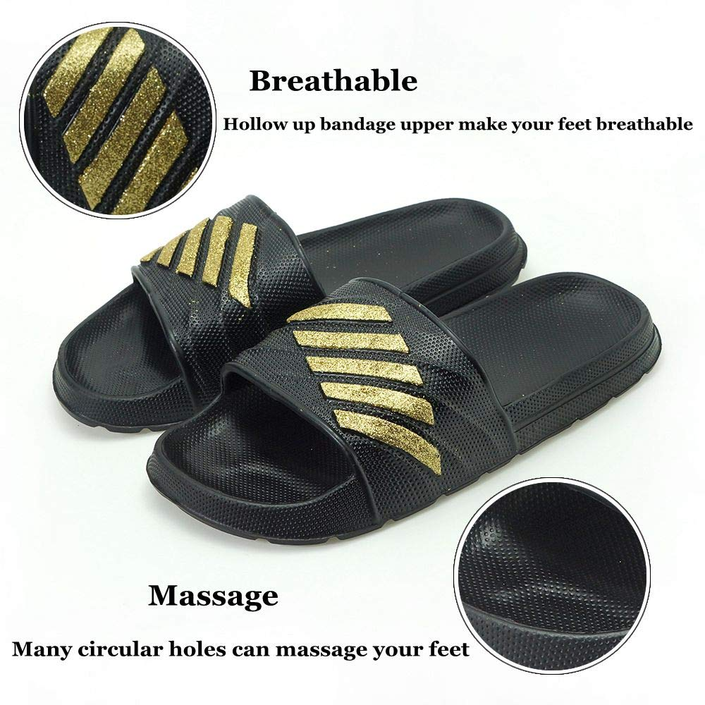 ZooYi Bathroom Shower Sandals Pool Slides Open Toe House Slippers Casual Lightweight Non-Slip Bath Shoes for Mens Womens Gold