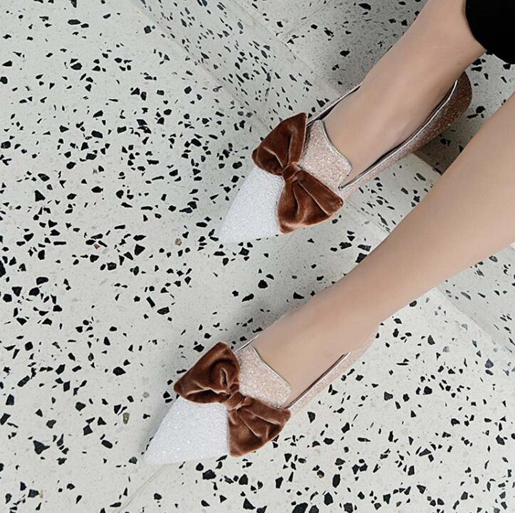 Blanc Femmes Pompe Ballerina Appartements Bout Pointu Bow Knot Loafer Slip On Simple Paillettes Confortable Casual Chaussures Cour Escarpins Eu Taille 33-43 42(Not returned )