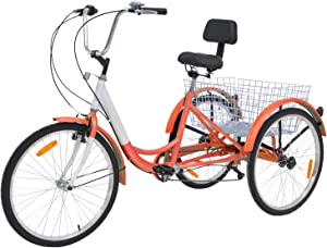 Barbella Adult Tricycle, 24-Inch Single and 7 Speed Three-Wheeled Cruise Bike with Large Size Basket for Recreation, Shopping, Exercise Men's Women's Bike