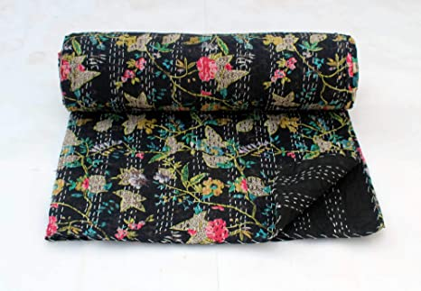 Colorful Handmade Kantha Quilt Hand Stitched Kantha Blanket Vintage Queen Size Kantha Bedspread Indian Cotton Patchwork Kantha Throw