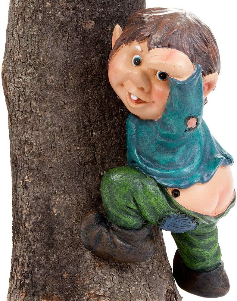 Bits and Pieces - Whistling Motion Sensor Elf on a Tree - Gnome Sound Sensor Tree Hugger - Garden Peeker Yard Art