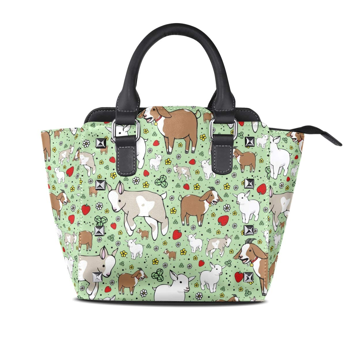 Design4 Handbag Sexy Leopard Print Genuine Leather Tote Rivet Bag Shoulder Strap Top Handle Women
