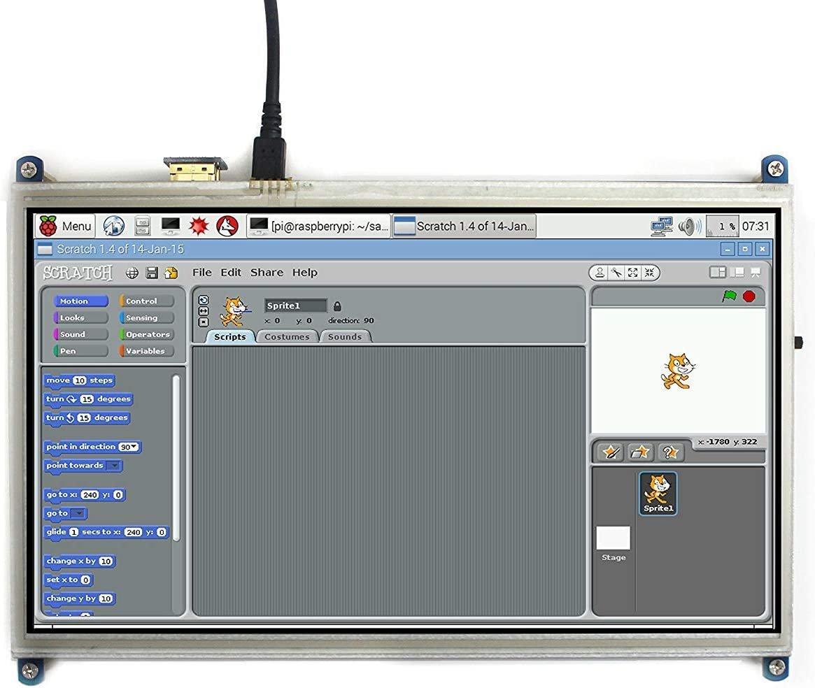 """10.1/"""" for Raspberry Pi Display 1024x600 resistive Touchscreen LCD Display HDMI"""