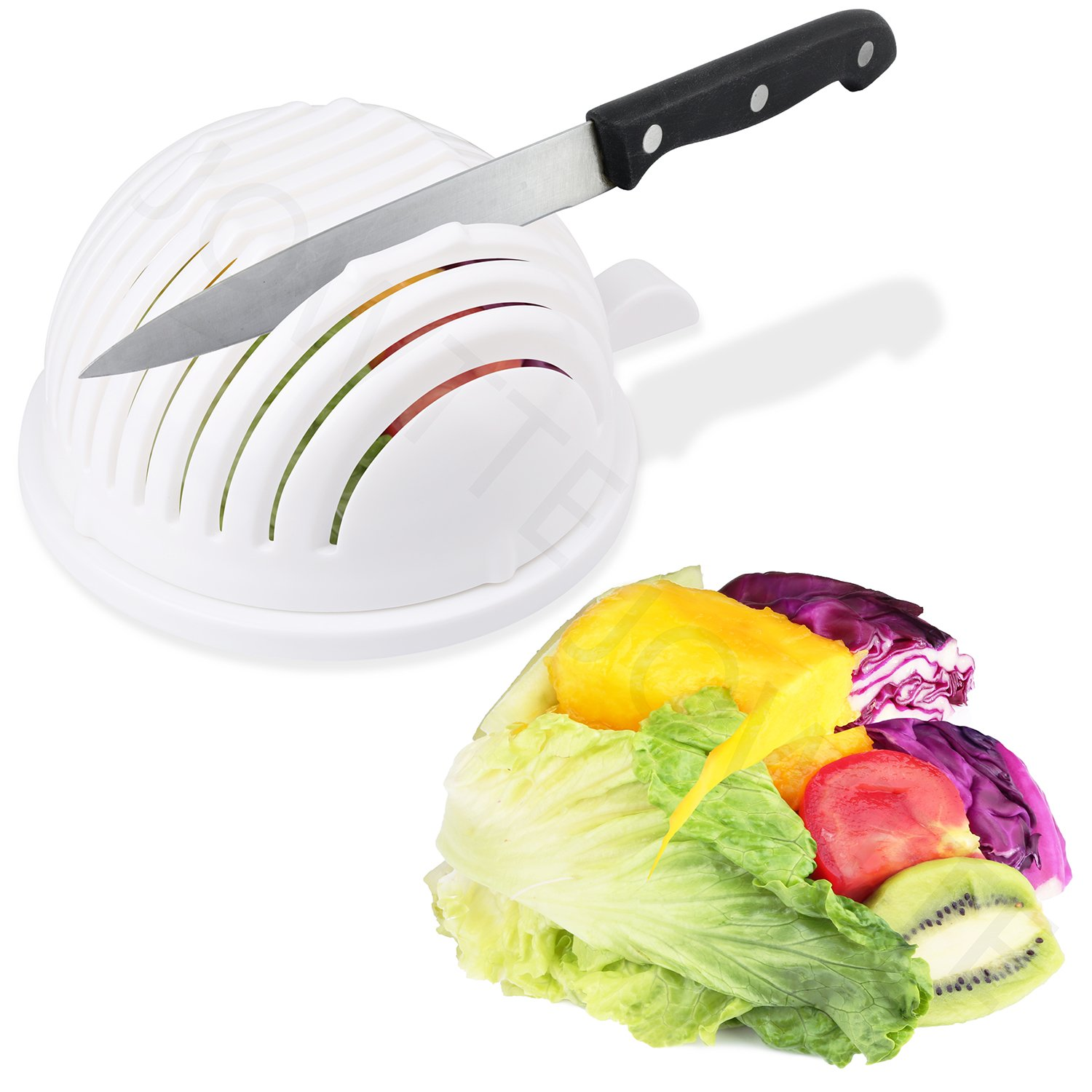 Salad Cutter Bowl Cuts Fruit or Vegetables in 60 Seconds - Dual Use Chopper(White)