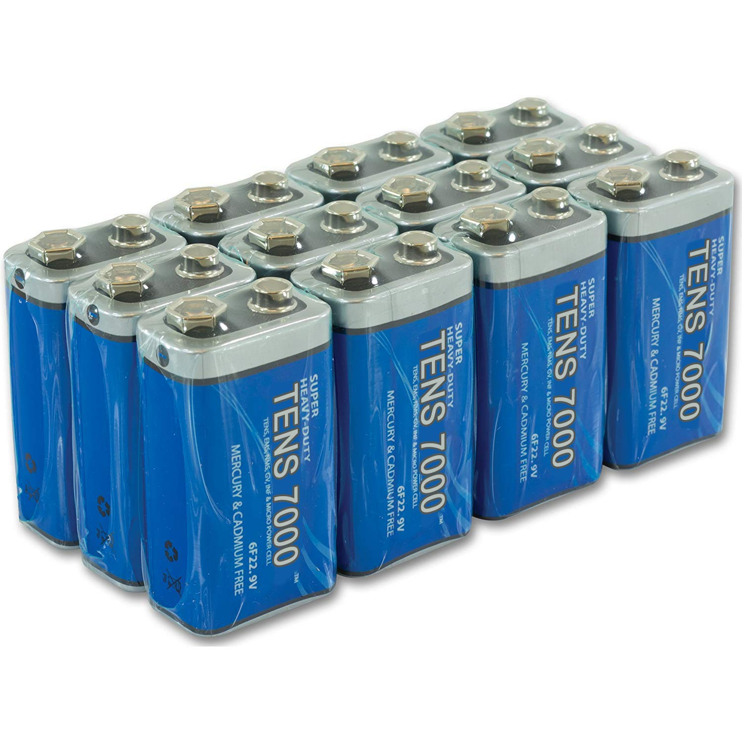9 Volt Battery For Smoke Alarms, TENS Units, and Other Household Devices, 12 Pack, 9V Batteries, Heavy Duty by TENS 7000