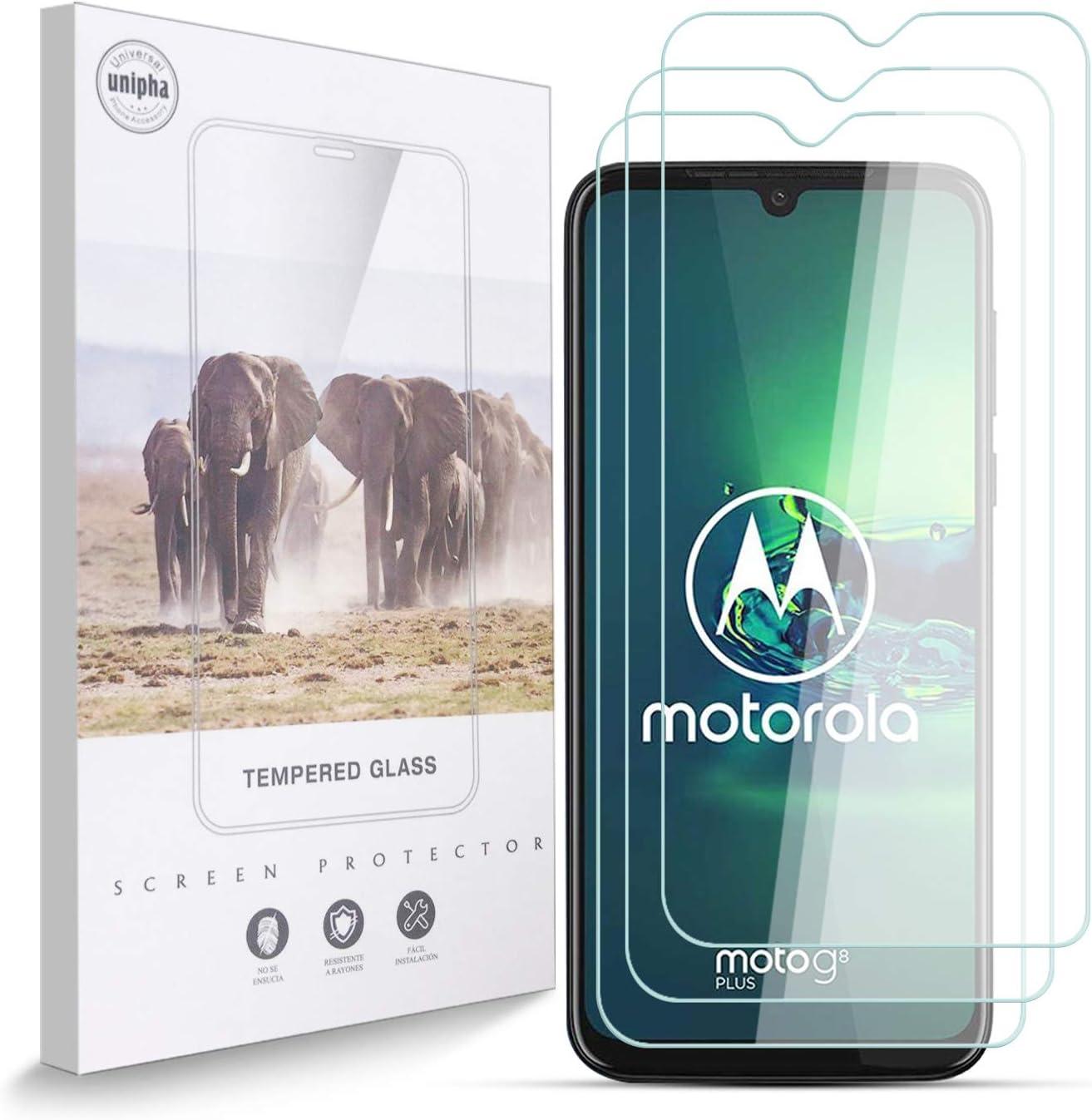 Protector de Pantalla para Motorola Moto G8 Plus, 9H, Antihuellas, Antiarañazos, Sin Burbujas, 0.33 mm, Ultra Resistent, HD Cristal Vidrio Templado Compatible con Motorola Moto G8 Plus, 3 Piezas