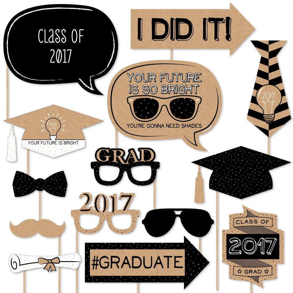 Amazon.com: Graduation Party - Gold - Photo Booth Props Kit - 20 ...