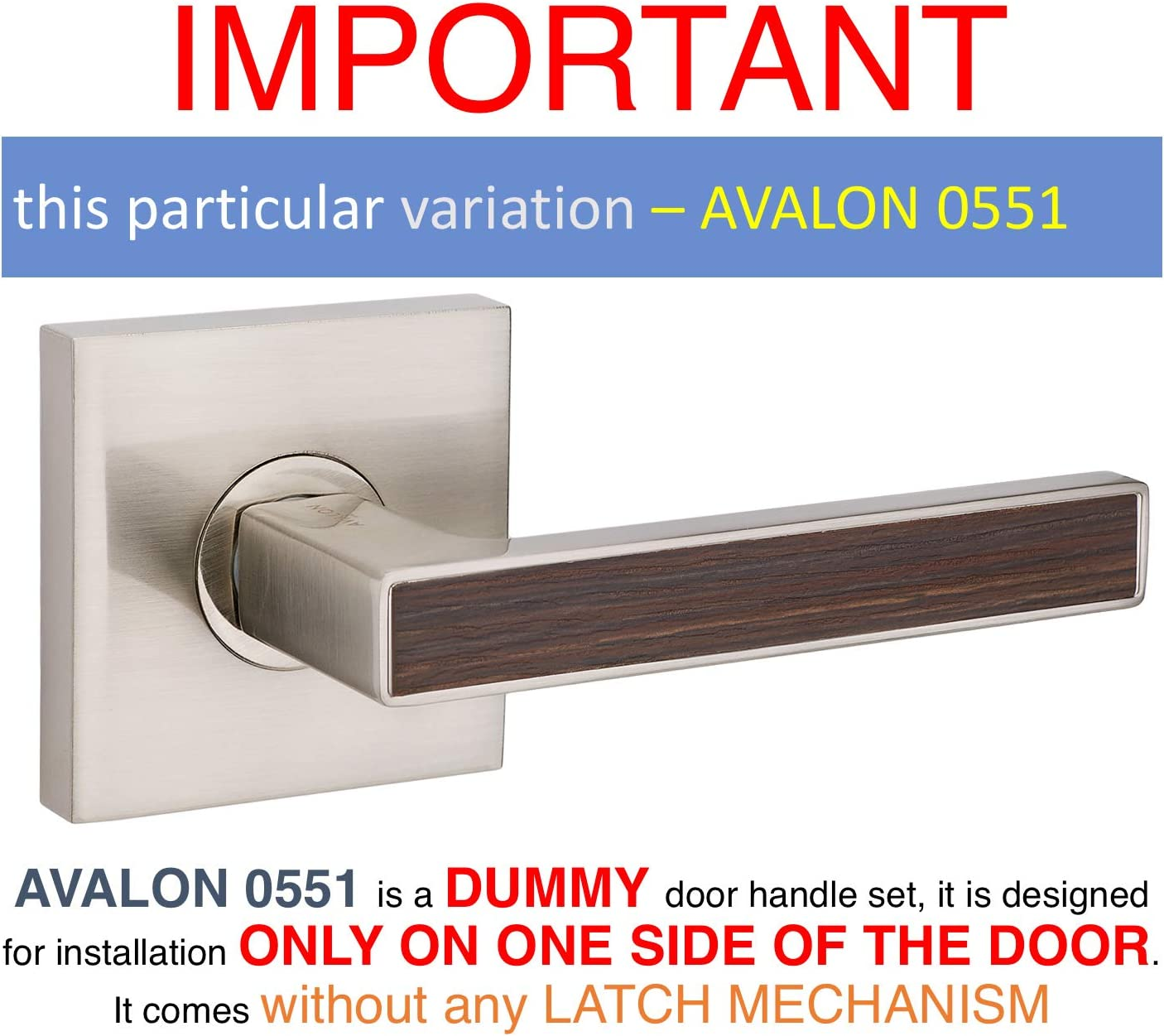 AVALON 0550 Contemporary // Modern Door Handles // Levers - Satin Nickel Finish with Wood Inset Privacy // Passage