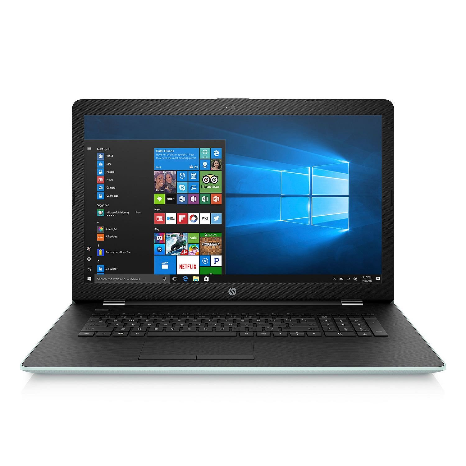 HP 17.3'' HD+ Notebook (2018 New), Intel Core i3-7100U Processor 2.4 GHz, 8GB Memory, 2TB Hard Drive, Optical Drive, HD Webcam, Backlit Keyboard, Windows 10 Home, Pale Mint