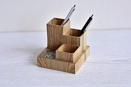 Organizador de escritorio de madera para oficina, mesa de cristal ...