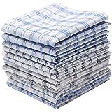 Neatpal 100% Cotton Men's Handkerchiefs Check Pattern Hankies 12 Pcs