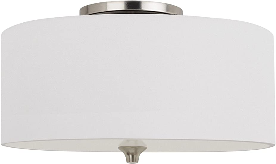 Brushed Nickel Finish Sea Gull Lighting 75952EN3-962 Stirling Two-Light Flush Mount Ceiling Light with Glass Diffuser and White Linen Fabric Shade