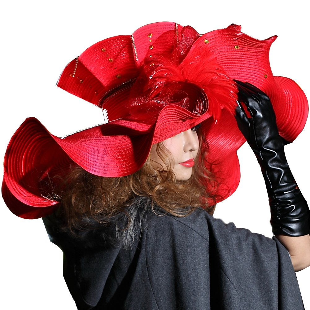 June's Young Women Hat Church Hat Big Wave Brim Exaggerated Big Feather Red