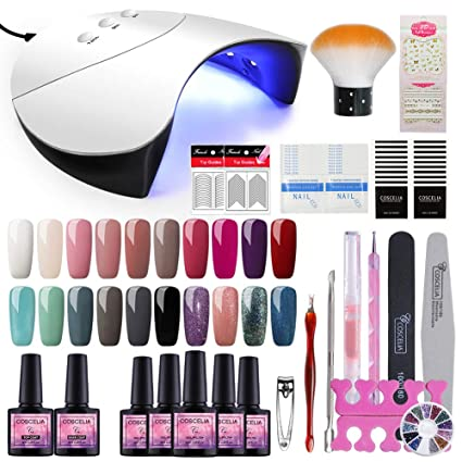 Saint-Acior 36W UV/LED Lámpara Secador de Uñas 20PCS Esmalte Semipermanente Topcoat Base