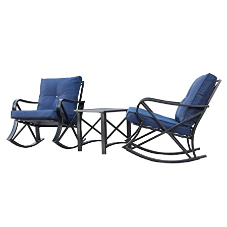 LOKATSE HOME 3-Piece Outdoor Patio Rocking Steel Furniture Bistro Set with 2 Rocker and 1 Metal Square Coffee Table Blue Thickened Cushion