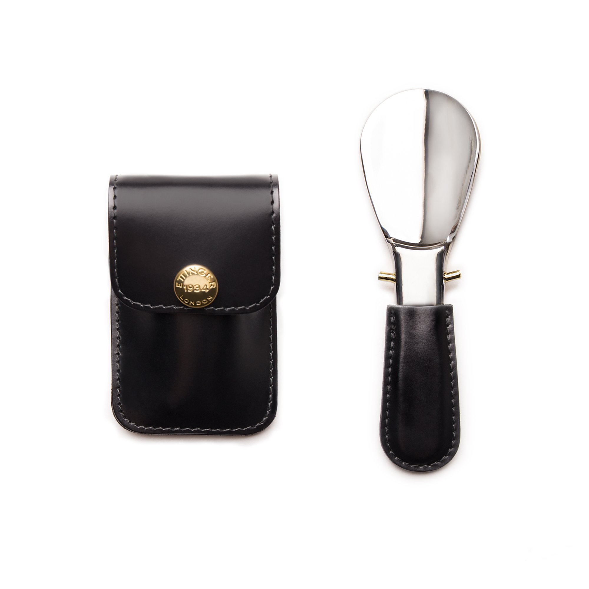 Ettinger Bridle Hide Collection Travel Shoe Horn in Pouch, Black/Silver