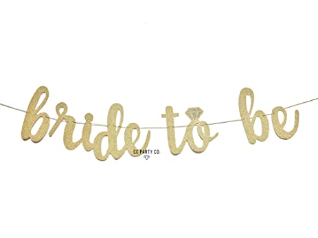 CC Party Co BRIDE TO BE Gold Glitter Banner With Diamond Ring Detail