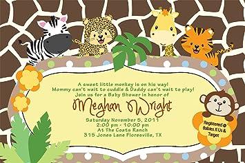 Amazoncom Baby Shower Jungle Invitations Tiger Zebra Giraffe