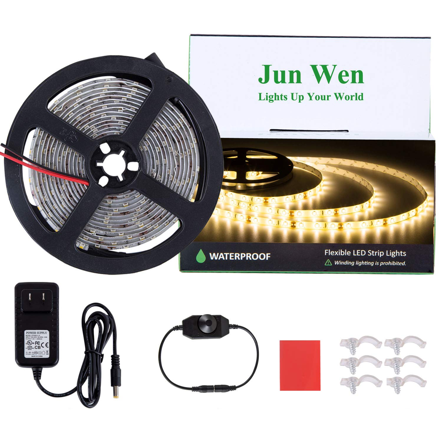 JUNWEN Dimmable LED Light Strip Kit Waterproof 3000K Strip Lights 300 Units SMD 2835 Rope Lights 12V LED Tape Ribbon with Power Supply for Home Kitchen Bar Clubs (Warm White)