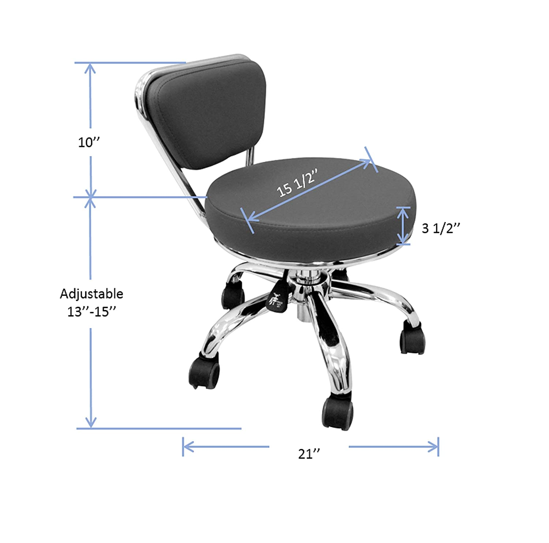 Dayton Pedicure Stool (Black) Pneumatic, Adjustable Height, Perfect for Nail Salon, Pedicure spa: Beauty