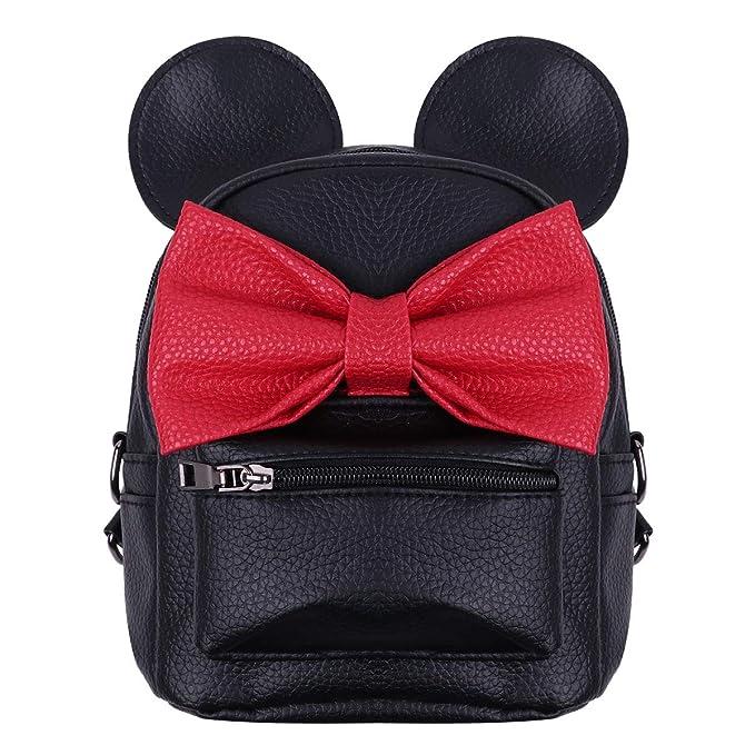 Amazon.com: Agoky Kid Girls PU Leather Cartoon Mini Mouse Ear Bow Backpack Schoolbag: Sports & Outdoors