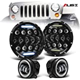 "AUSI DOT Approved Pair 7"" Led Round Headlights Hi/Lo Beam DRL Projector Headlamps + Pair 4"" Front Bumper Led Fog Lights…"