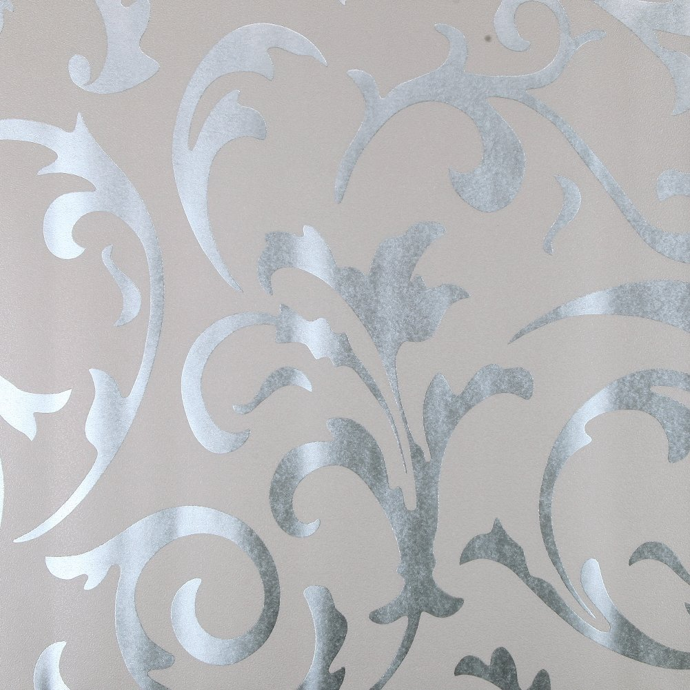 Luxton Acanthus Scroll Wallpaper, Textured Victorian Damask Wallpaper (Unpaste) Home Decor Renovation Wallpaper for TV Background Living Room Bedroom, 20.8 inch x 32.8 Feet, Silver Color, 1 Roll Pack
