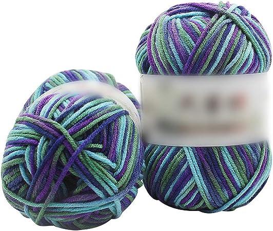 Hilo de algodón de leche suave para tejer niños Hilados de punto a mano Diy Manta tejida Crochet Yarn Sweater V: Amazon.es: Hogar