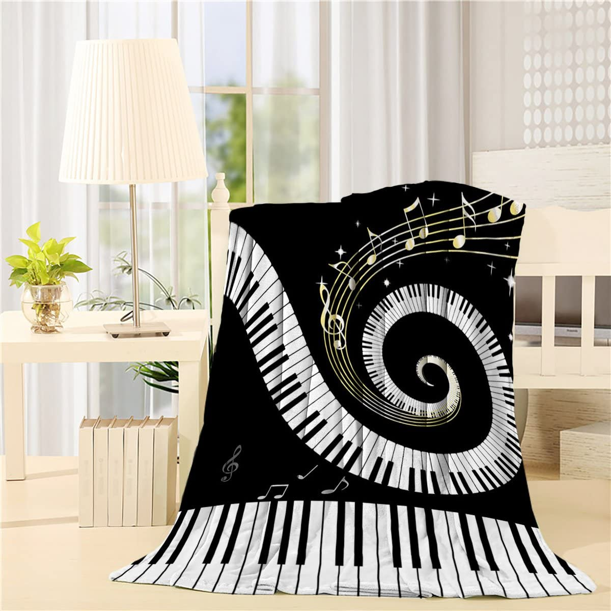 Flannel Fleece Bed Blanket 40 x 50 inch Music Decor Throw Blanket Lightweight Cozy Plush Blanket for Bedroom Living Rooms Sofa Couch - Abstract Musical Notes With Piano