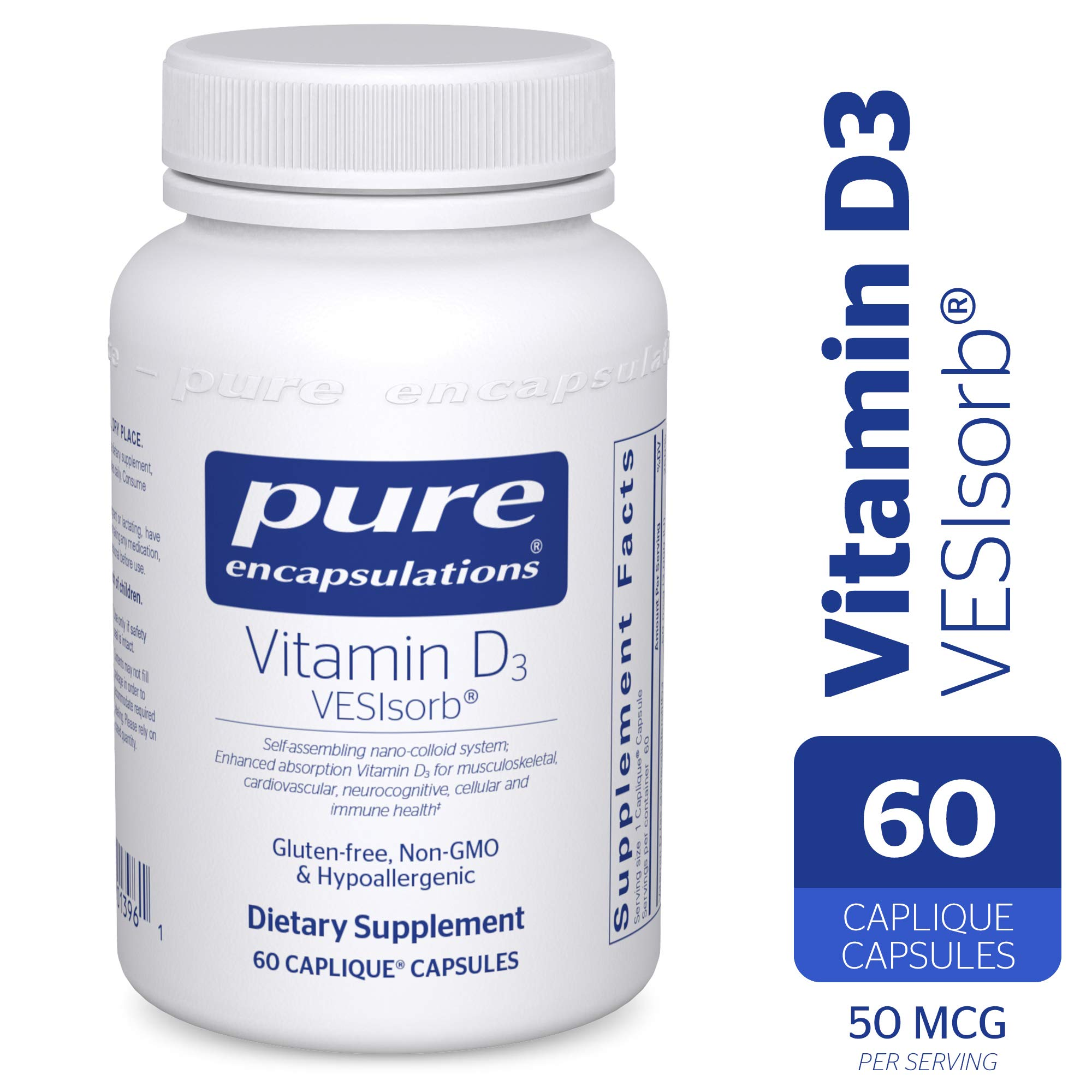 Pure Encapsulations - Vitamin D3 VESIsorb - Hypoallergenic Supplement for Enhanced Vitamin D Absorption - 60 Caplique Capsules by Pure Encapsulations (Image #1)