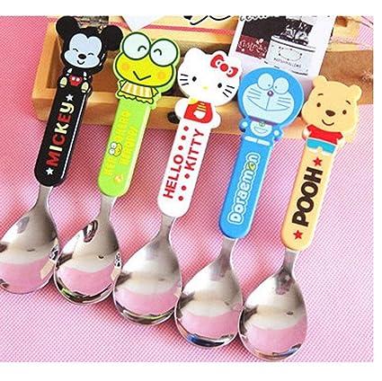 Kieana Spoon Fork With Doremon Phooh Hello Kitty Toy Shape Handle For Kids Birthday Return
