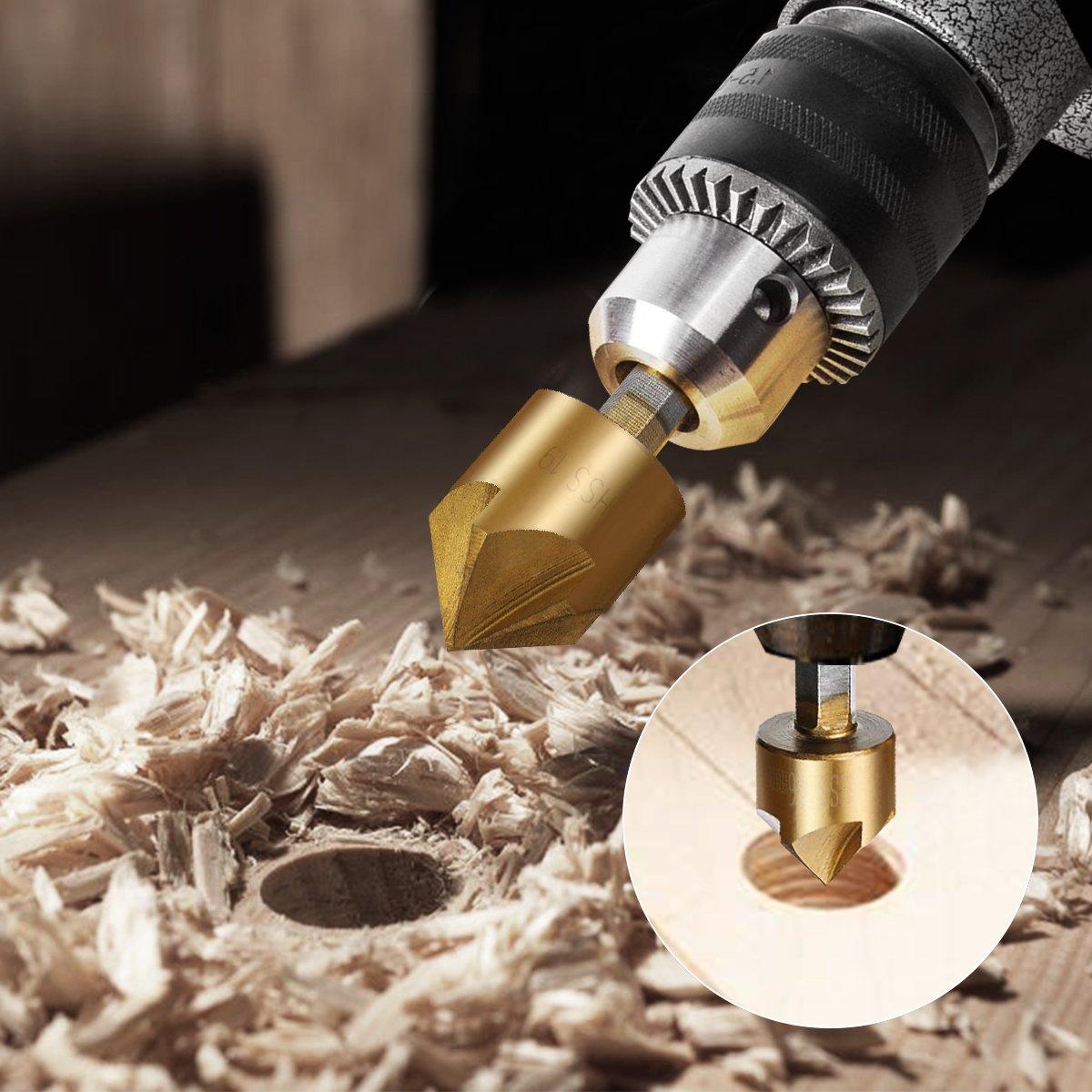 Countersink Drill Bit Baban Countersink Drill Bit Set 6 Pcs 1//4 Hex Shank HSS 5 Flute Countersink 90 Degree Center Punch Tool Sets For Wood Quick Change Bit 6mm-19mm with A Box