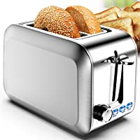 Toaster 2 Slice Stainless 2 Slice Toaster Best Rated Prime Wide Slot Toaster with Removable Crumb Tray 7 Bread Shade…